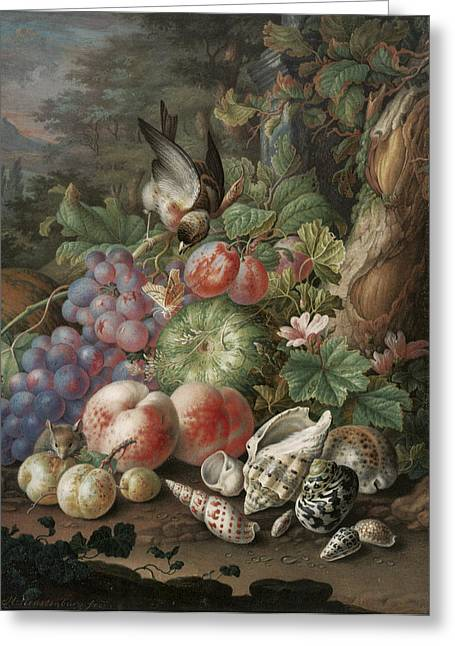 Watermelon Greeting Cards - Still Life of Fruit with a Finch Greeting Card by Herman Henstenburg