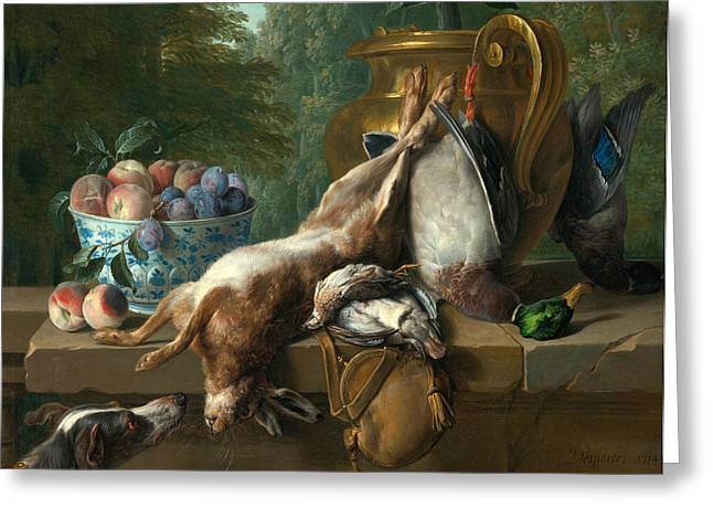Still Life Of Game With A Bowl Of Plum And Peaches Greeting Card by Alexandre-Francois Desportes