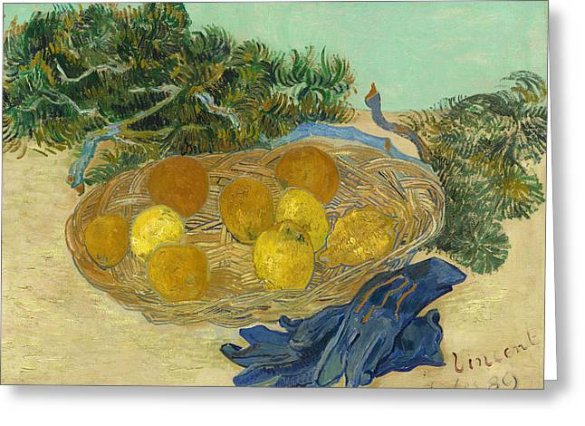 Famous Artist Greeting Cards - Still Life of Oranges and Lemons with Blue Gloves Greeting Card by Vincent van Gogh