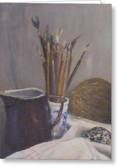 Still Life Jewelry Greeting Cards - Still life of paint brushes etc. Greeting Card by Barbara Jacquin