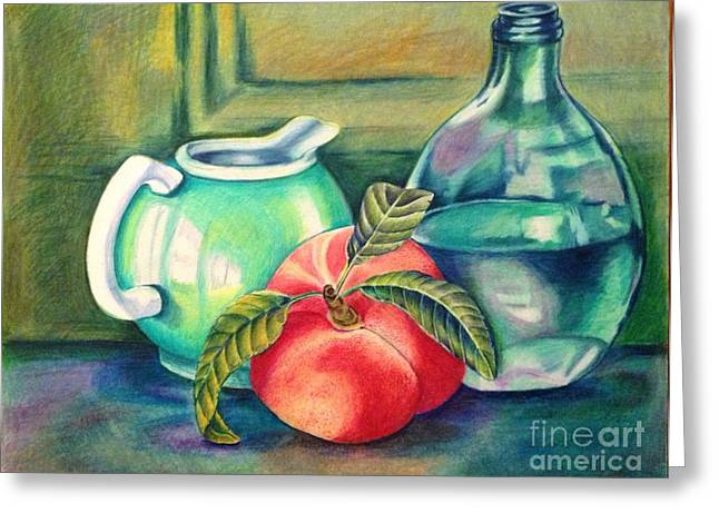 Decanters Drawings Greeting Cards - Still life of peach pitcher and decanter of water Greeting Card by Julia Gatti