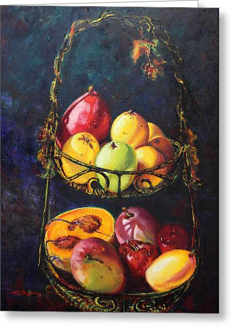 Mango Paintings Greeting Cards - Still Life of Tropical Fruits Bodegon Tropical Greeting Card by Estela Robles Galiano