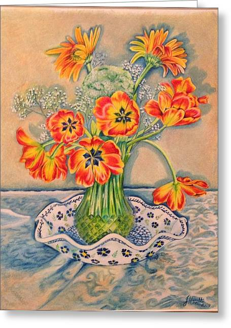 Vase Of Flowers Drawings Greeting Cards - Still life of tulips Greeting Card by Julia Gatti