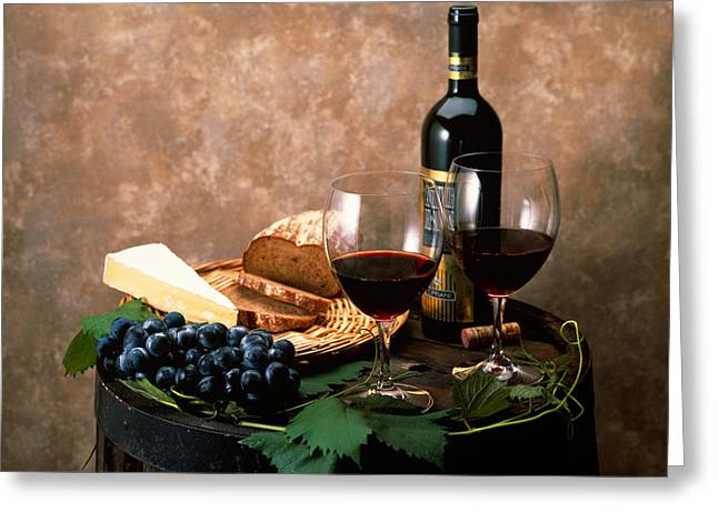 Purple Grapes Photographs Greeting Cards - Still Life Of Wine Bottle, Wine Greeting Card by Panoramic Images