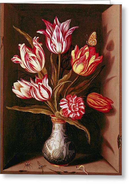 Variegated Greeting Cards - Still Life Oil On Panel Greeting Card by Jan Baptist van Fornenburgh