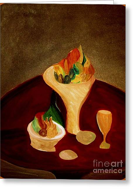 Table Wine Greeting Cards - Still Life on a Red Table Greeting Card by Bill OConnor