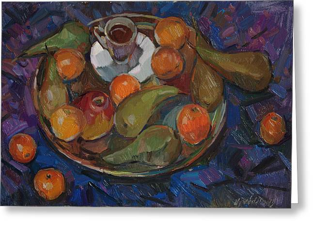 Still Life With Tangerines Paintings Greeting Cards - Still life on a tray Greeting Card by Juliya Zhukova