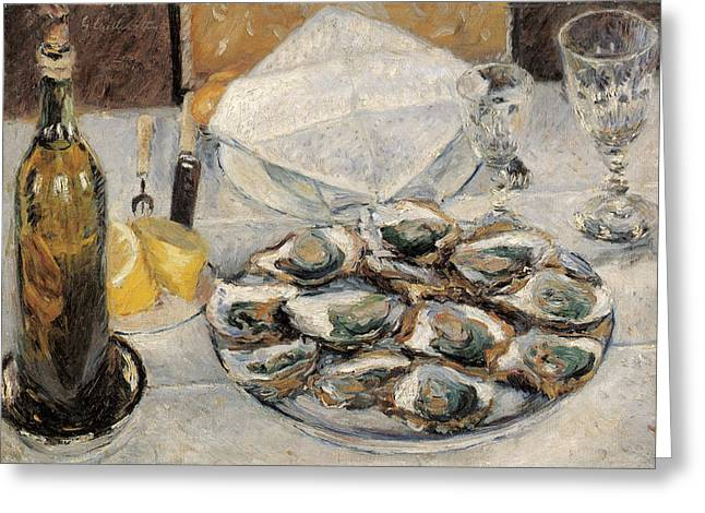 Oyster On Half-shell Greeting Cards - Still Life Oysters Greeting Card by Gustave Caillebotte