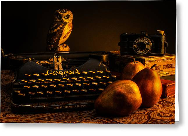 Carved Greeting Cards - Still Life - Pears and Typewriter Greeting Card by Jon Woodhams