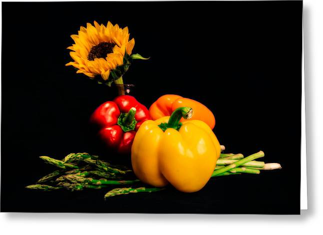 Still Life Peppers Asparagus Sunflower Greeting Card by Jon Woodhams