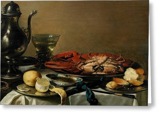 Table Wine Greeting Cards - Still Life Greeting Card by Pieter Claesz
