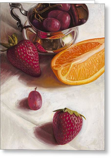 Fruit Greeting Cards - Still LIfe Reflections Greeting Card by Ron Crabb