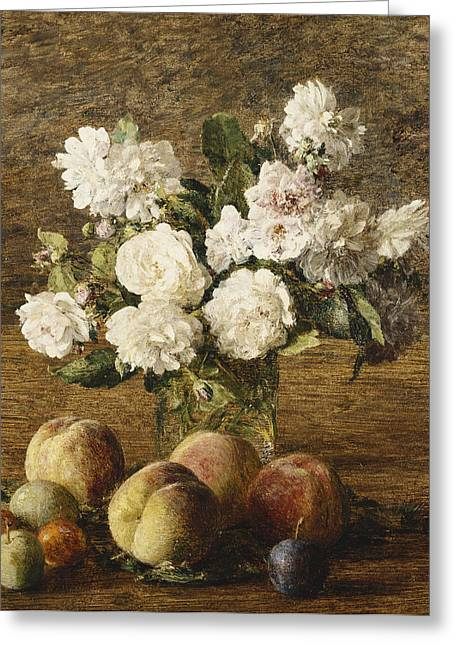 In Bloom Greeting Cards - Still Life Roses and Fruits Greeting Card by Ignace Francois Bonhomme