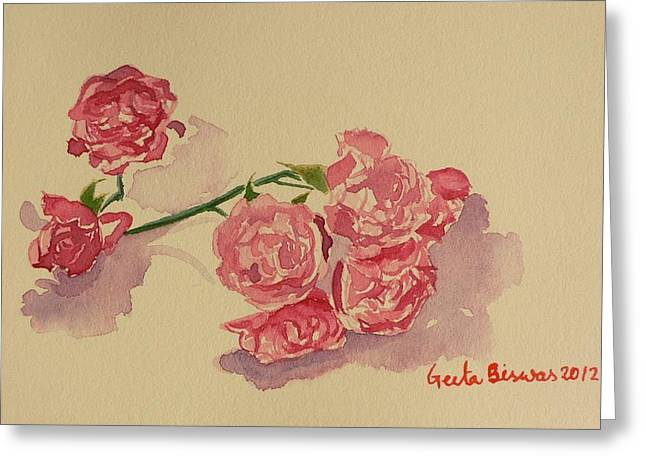 Acrylicprint Greeting Cards - Still life Roses Greeting Card by Geeta Biswas
