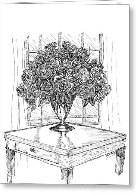 Still Life Roses Greeting Card by Lee Halbrook