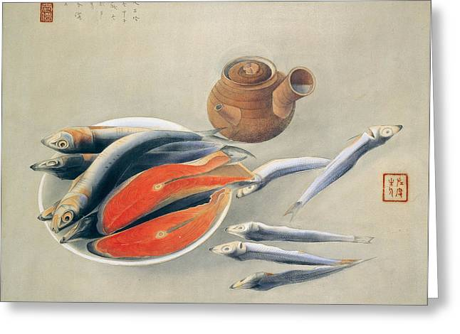 Salmon Paintings Greeting Cards - Still Life  Salmon Slices and Sardines Greeting Card by Tsuchida Bakusen