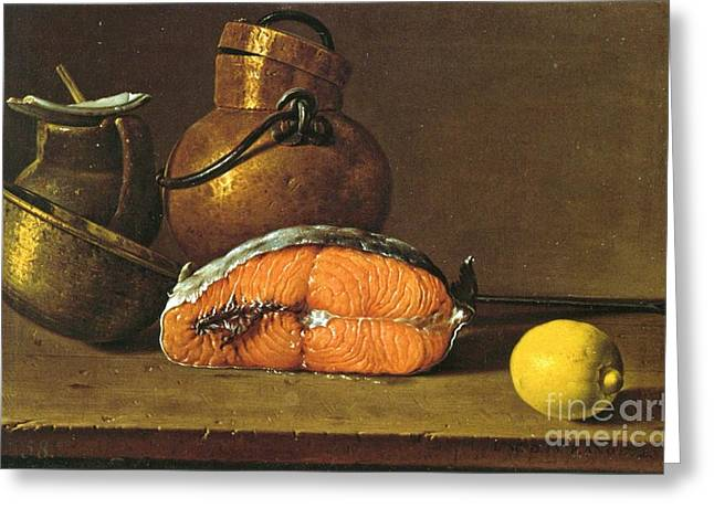 Salmon Paintings Greeting Cards - Still-life  Salmon-Vessels- Lemon Greeting Card by Pg Reproductions