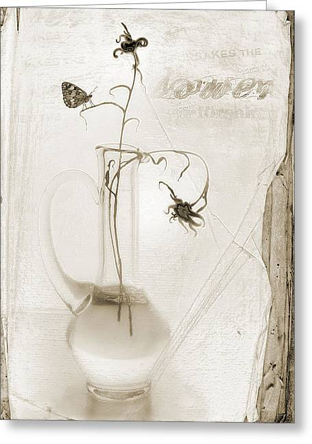 Flovers Greeting Cards - Still Life Sketch in Sepia Greeting Card by Frida  Kaas