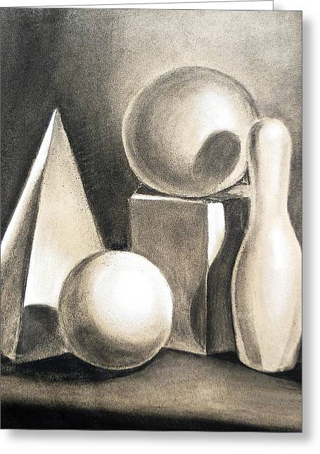 Realistic Drawings Greeting Cards - Still Life Study Of Forms Greeting Card by Irina Sztukowski