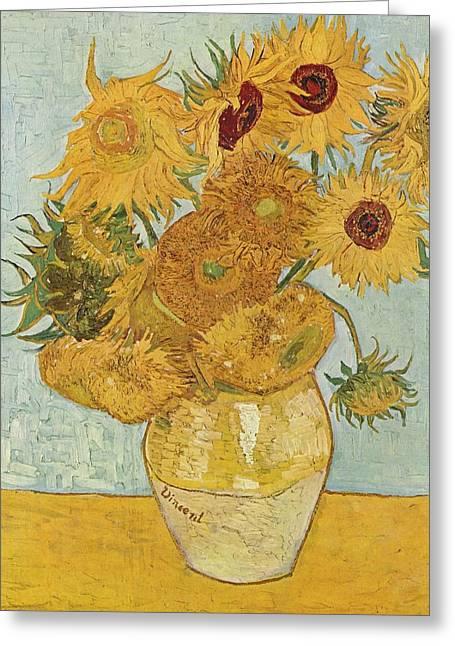 Gogh; Vincent Van Flowers Greeting Cards - Still Life Sunflowers Greeting Card by Vincent Van Gogh