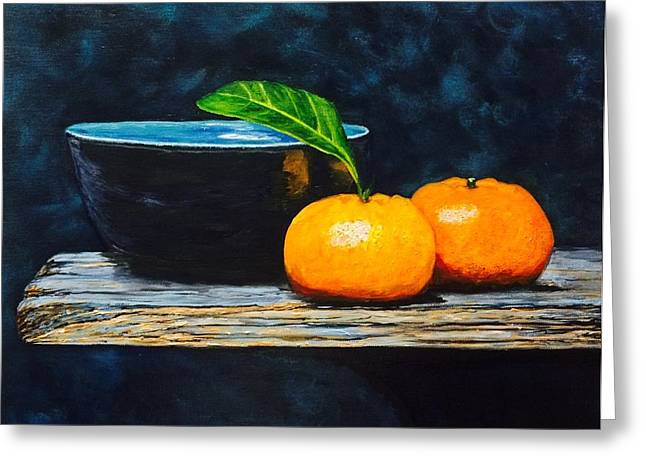 Realism Greeting Cards - Still life tangerines Greeting Card by Troy Rohn