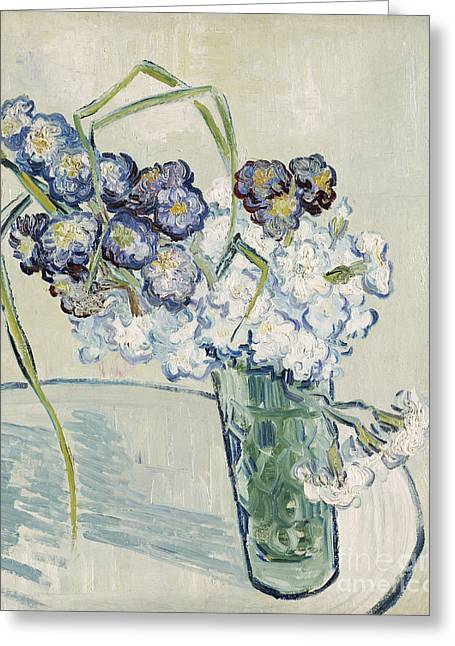 Beauty In Nature Paintings Greeting Cards - Still Life Vase of Carnations Greeting Card by Vincent van Gogh