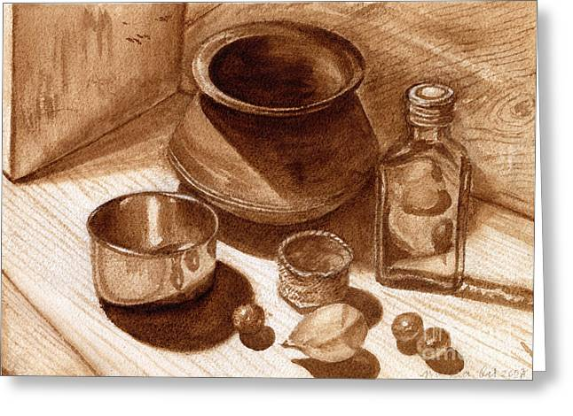 Stainless Steel Greeting Cards - Still Life Walnut Ink Greeting Card by Mukta Gupta