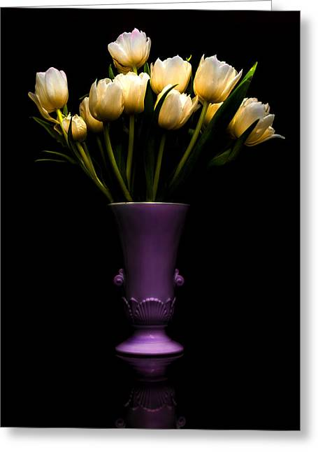 Recently Sold -  - Floral Still Life Greeting Cards - Still Life - White Tulips Greeting Card by Jon Woodhams