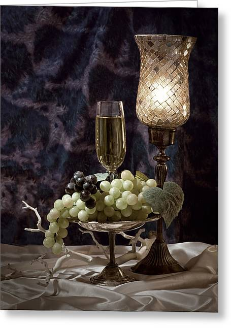 Glass Of Wine Greeting Cards - Still Life Wine with Grapes Greeting Card by Tom Mc Nemar