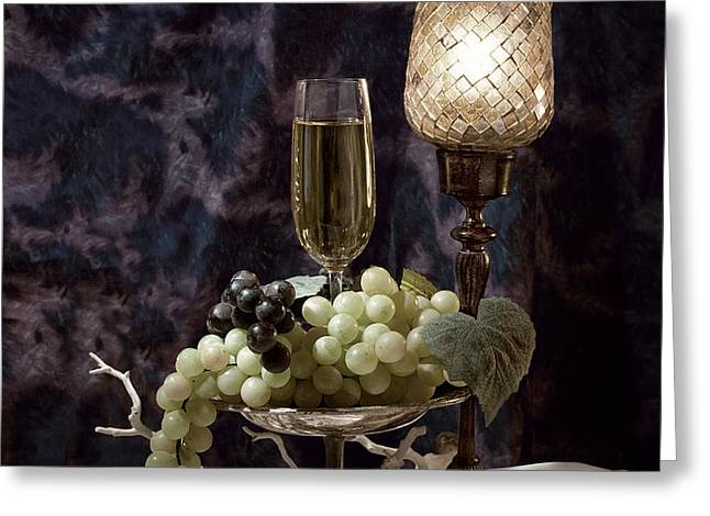 Still Life Wine with Grapes Greeting Card by Tom Mc Nemar