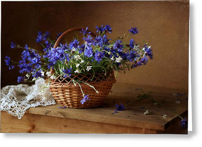Still-life With A Basket Greeting Cards - Still life with A Basket of Cornflowers Greeting Card by Alina Lankina