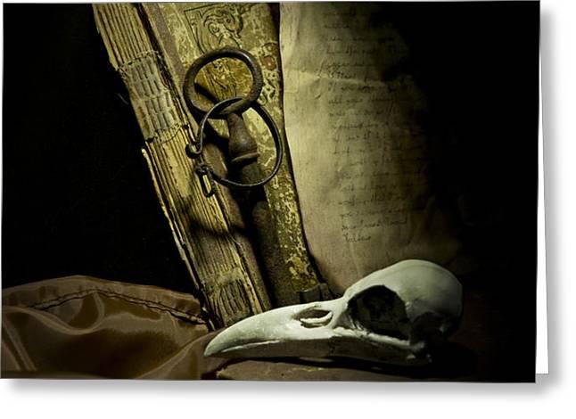 Still life with a bird skull Greeting Card by Jaroslaw Blaminsky