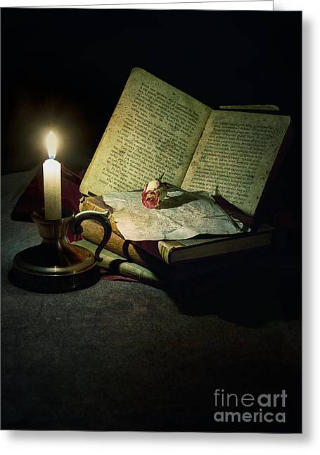 Information Age Photographs Greeting Cards - Still life with a candle Greeting Card by Jaroslaw Blaminsky