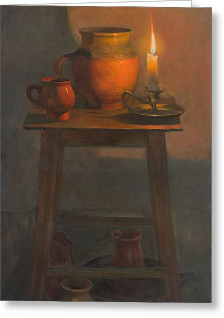 Still Life Greeting Cards - Still-life with a candle Greeting Card by Victoria Kharchenko