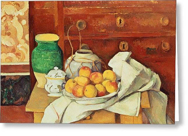 Interior Still Life Paintings Greeting Cards - Still Life with a Chest of Drawers Greeting Card by Paul Cezanne
