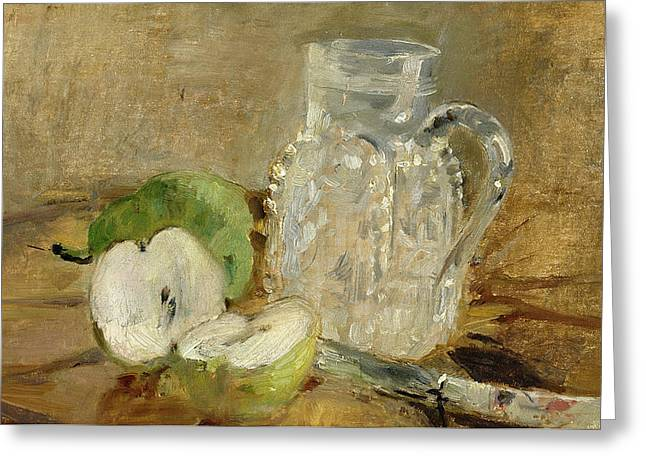 Morisot Canvas Greeting Cards - Still Life with a Cut Apple and a Pitcher Greeting Card by Berthe Morisot