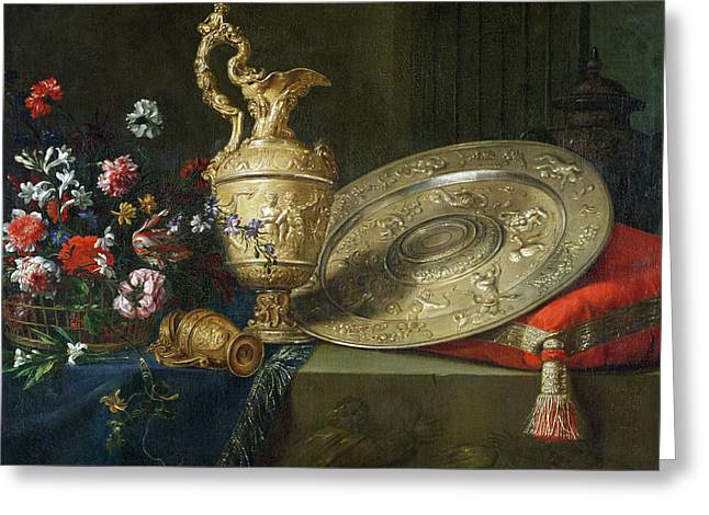 Still Life With A Gilded Ewer Greeting Card by Meiffren Conte