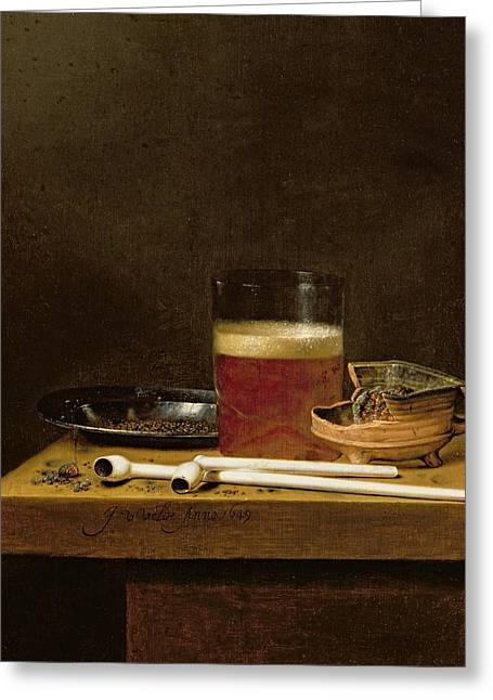 Smoking Greeting Cards - Still Life With A Glass Of Beer, Brazier And Clay Pipes Oil On Panel Greeting Card by Jan Jansz. van de Velde