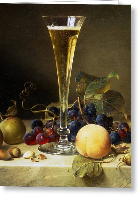 Table Wine Greeting Cards - Still Life with a glass of champagne Greeting Card by Johann Wilhelm Preyer