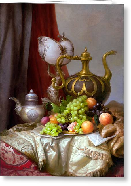 Still Life With Old Pitcher Paintings Greeting Cards - Still-life with a glass of Dutch Greeting Card by Sevrukov