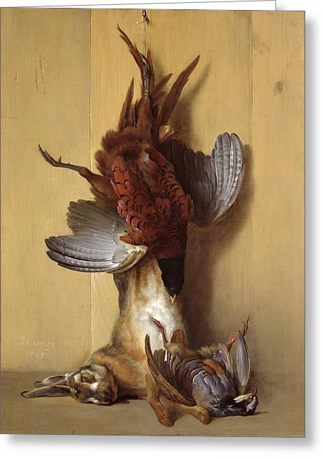 Still Life With A Hare, A Pheasant And A Red Partridge Greeting Card by Jean-Baptiste Oudry