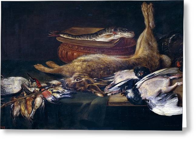 Recently Sold -  - Still Life With Fish Greeting Cards - Still life with a hare fish and birds Greeting Card by Alexander Adriaenssen