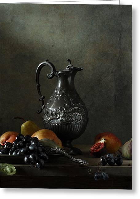 Still Life With Old Pitcher Greeting Cards - Still Life with a jug and a snake Greeting Card by Diana Amelina