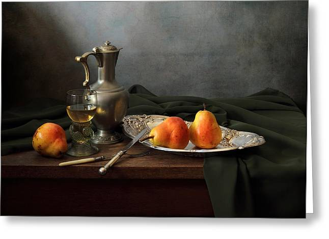 Still Life With Old Pitcher Greeting Cards - Still Life with a jug and Roamer and pears Greeting Card by Helen Tatulyan