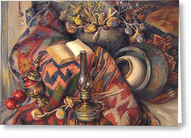 National Paintings Greeting Cards - Still life with a lamp Greeting Card by Meruzhan Khachatryan