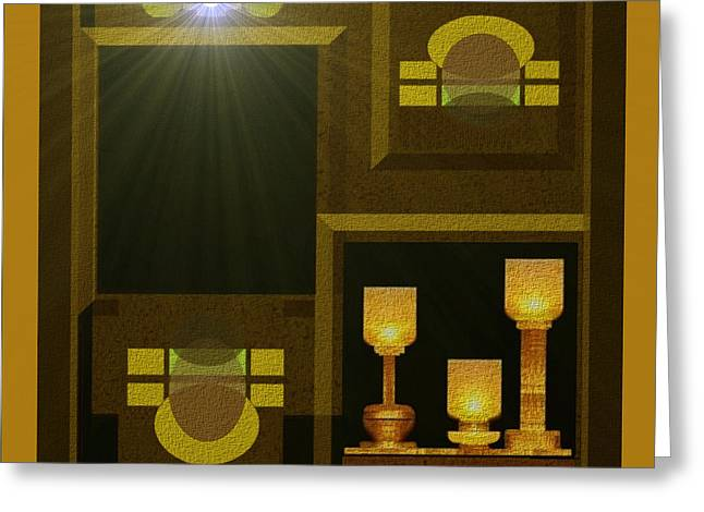 Tumbler Greeting Cards - Still-Life with a  light - 168 Greeting Card by Irmgard Schoendorf Welch