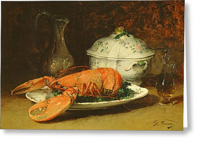Lobster Pot Greeting Cards - Still Life with a Lobster and a Soup Tureen Greeting Card by Guillaume Romain Fouace