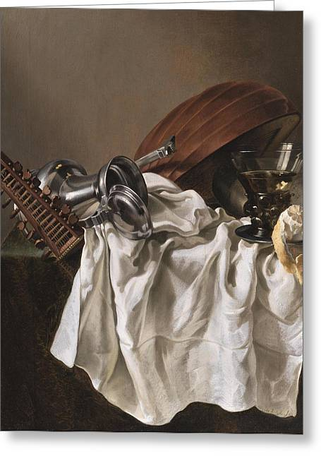 Lute Paintings Greeting Cards - Still Life with a Lute Greeting Card by Willem van Odekercken