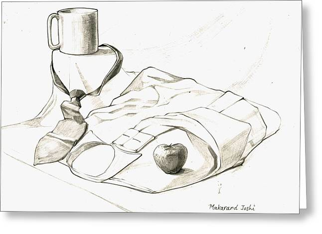 Work Place Drawings Greeting Cards - Still life with a mug n a tien an apple n a shirt Greeting Card by Makarand Joshi