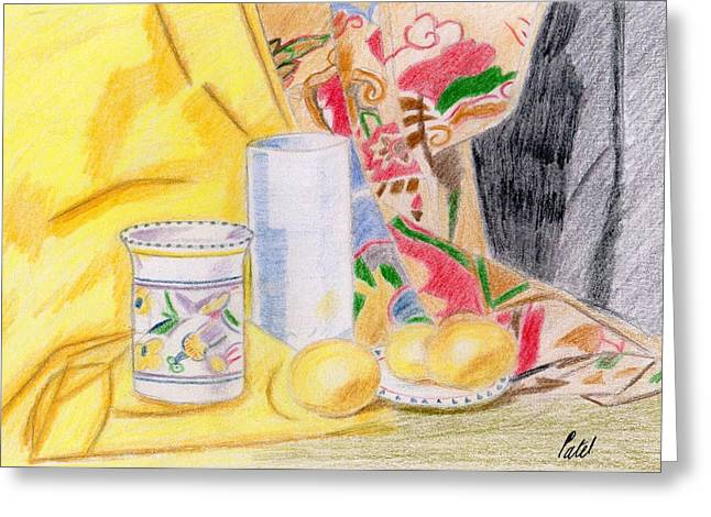 Still Life With A Patterned Background Greeting Card by Bav Patel